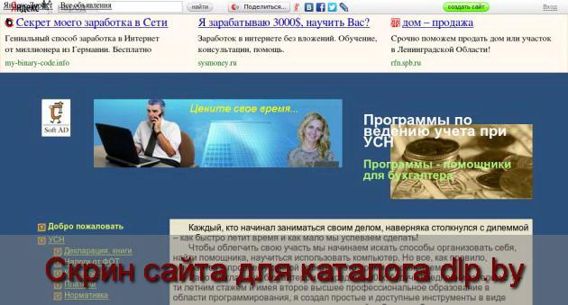 Скрин сайта - usn-by.narod.ru  для dlp.by