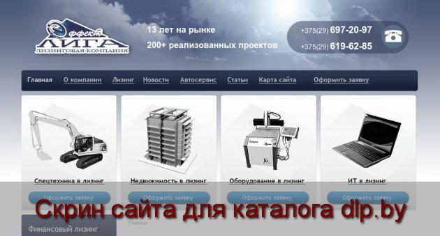 Скрин сайта - vlizing.by  для dlp.by