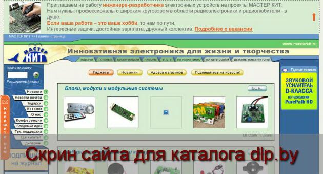 Скрин сайта - www.masterkit.ru  для dlp.by